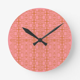 Luxury pink vint. ornaments round clock