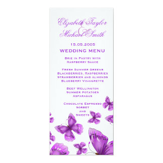 Luxury Purple Elegant Butterfly Wedding Menu Card