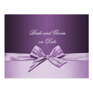 Luxury Purple Elegant Ribbon Save date card