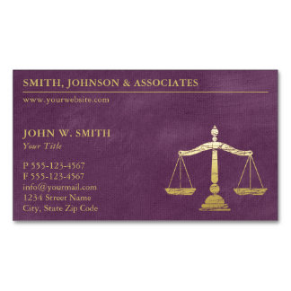 Luxury Purple Lawyer Scales of Justice Gold Look Magnetic Business Card