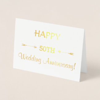 Luxury Real Gold HAPPY 50TH WEDDING ANNIVERSARY Foil Card