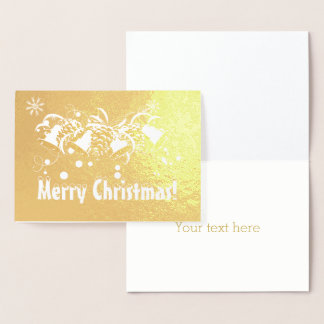 Luxury Real Gold Merry Christmas Typography Foil Card