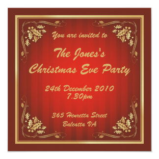 """Luxury Red and Gold Christmas Party 5.25"""" Square Invitation Card"""