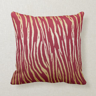 Luxury Red and Gold Tiger Print Throw Pillow