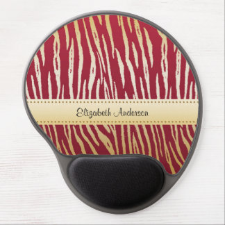 Luxury Red and Gold Tiger Print With Name Gel Mouse Pads
