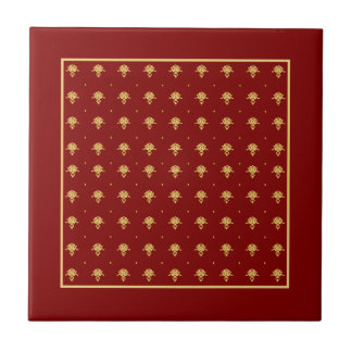 Luxury Red and Gold Vintage Damask Pattern Ceramic Tile