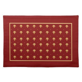 Luxury Red and Gold Vintage Damask Pattern Cloth Place Mat