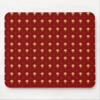 Luxury Red and Gold Vintage Damask Pattern Mouse Pad