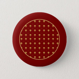Luxury Red and Gold Vintage Damask Pattern Pinback Button