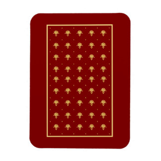 Luxury Red and Gold Vintage Damask Pattern Rectangle Magnets