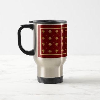 Luxury Red and Gold Vintage Damask Pattern Travel Mug