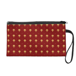 Luxury Red and Gold Vintage Damask Pattern Wristlet Purse