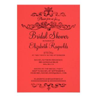 Luxury Red & Black Bridal Shower Invitations Personalized Invitations