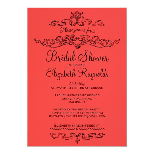 Luxury Red & Black Bridal Shower Invitations