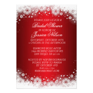 Luxury Red Christmas Lace Bridal Invite Card