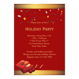 Luxury Red Corporate Holiday Party Invitations