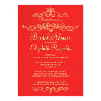 Luxury Red & Gold Bridal Shower Invitations Invite
