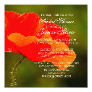 Luxury Red Iceland Poppy Bridal Shower Invite