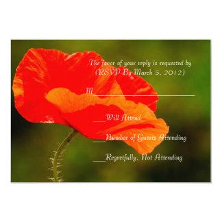 Luxury Red Iceland Poppy RSVP card