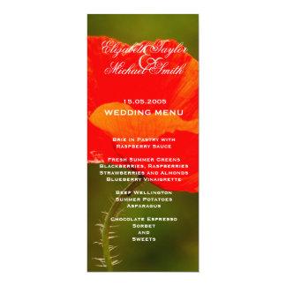Luxury Red Iceland Poppy Wedding Menu Card