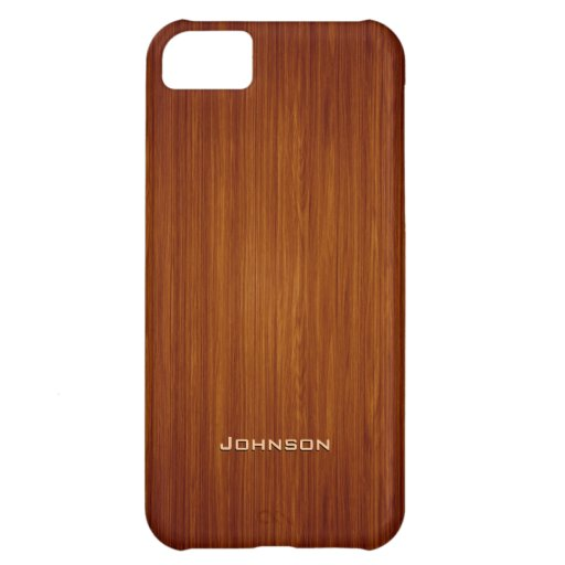 Luxury Red Rosewood Plank with Custom Name Case For iPhone 5C
