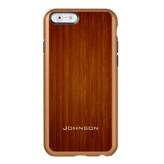 Luxury Red Rosewood Plank with Custom Name Incipio Feather Shine iPhone 6 Case