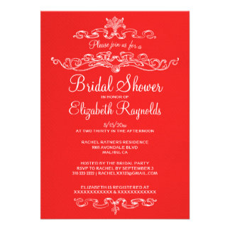 Luxury Red & White Bridal Shower Invitations Announcements