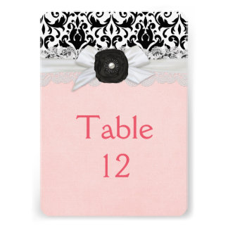 Luxury Ribbon Black Damask Table card