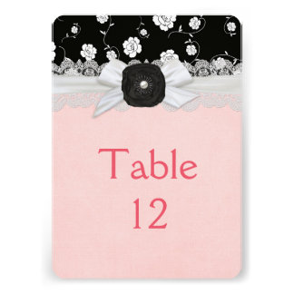 Luxury Ribbon Black Floral Damask Table card