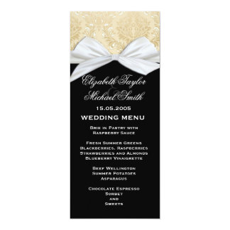 Luxury Ribbon Black Gold Damask Wedding Menu Card