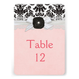 Luxury Ribbon Black&White Damask Table card