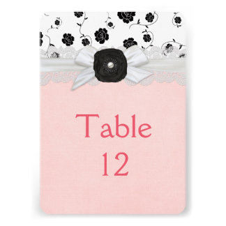 Luxury Ribbon Floral Damask Table card