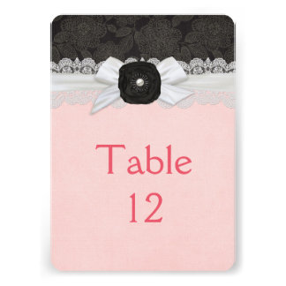Luxury Ribbon Lace Damask Table card