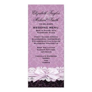 Luxury Ribbon Purple Damask Menu Custom Invitations