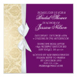 Luxury Ribbon Purple Gold Damask Shower Invite