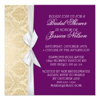 Luxury Ribbon Purple Gold Damask Shower Invite Invitations