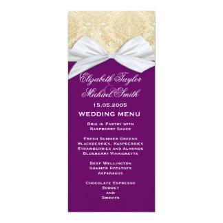 Luxury Ribbon Purple Gold Damask Wedding Menu 4x9.25 Paper Invitation Card