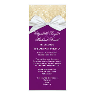 Luxury Ribbon Purple Gold Damask Wedding Menu Card