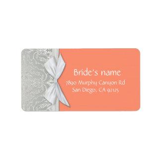 Luxury Ribbon Silver/Coral Damask Address label