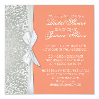 Luxury Ribbon Silver/Coral Damask Shower Invite