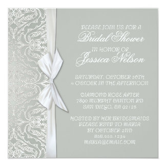 Luxury Ribbon Silver/Grey Damask Shower Invite