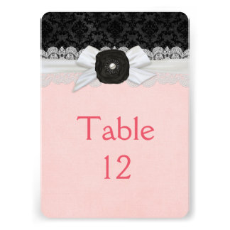 Luxury Ribbon Style Damask Table card