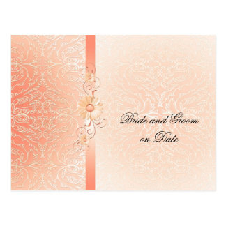 Luxury Romantic Coral Damask Save date card