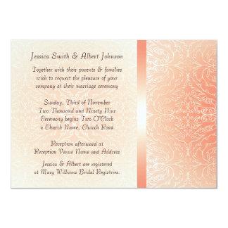 Luxury Romantic Coral Damask  Wedding Invite