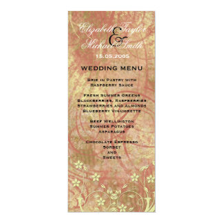 Luxury Romantic Gold Floral Wedding Menu Card