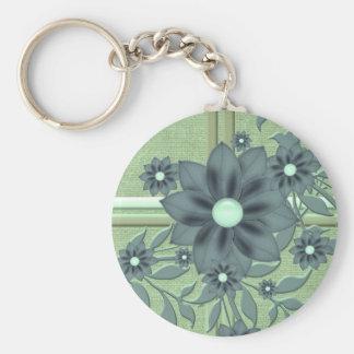Luxury Romantic Green Burlap Flowers Keychain Key Chain