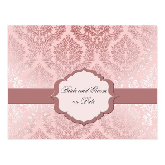 Luxury Romantic Pink Damask Save date card