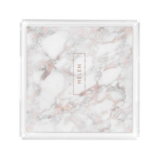 Luxury Rose-Gold Faux Marble Print Acrylic Tray