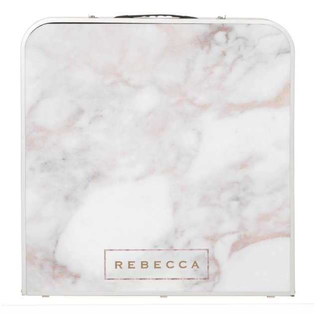 Luxury Rose Gold Marble Texture Monogram Beer Pong Table Zazzle Com