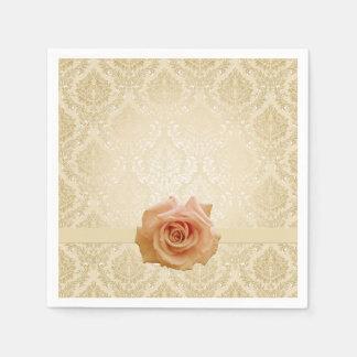 Luxury Rose Gold Victorian Damask Napkins